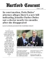 Click for pdf: In court motion, Fotis Dulos' attorney alleges there's a new bill indicating Jennifer Farber Dulos saw a doctor nearly two months after she disappeared